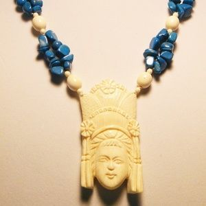Jewelry - GENUINE VINTAGE CARVED IVORY AND TURQUOISE EXOTIC